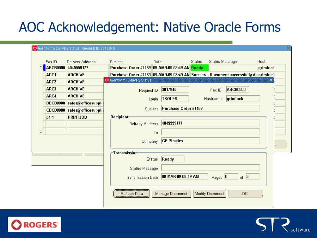 AOC Acknowledgement: Native Oracle Forms