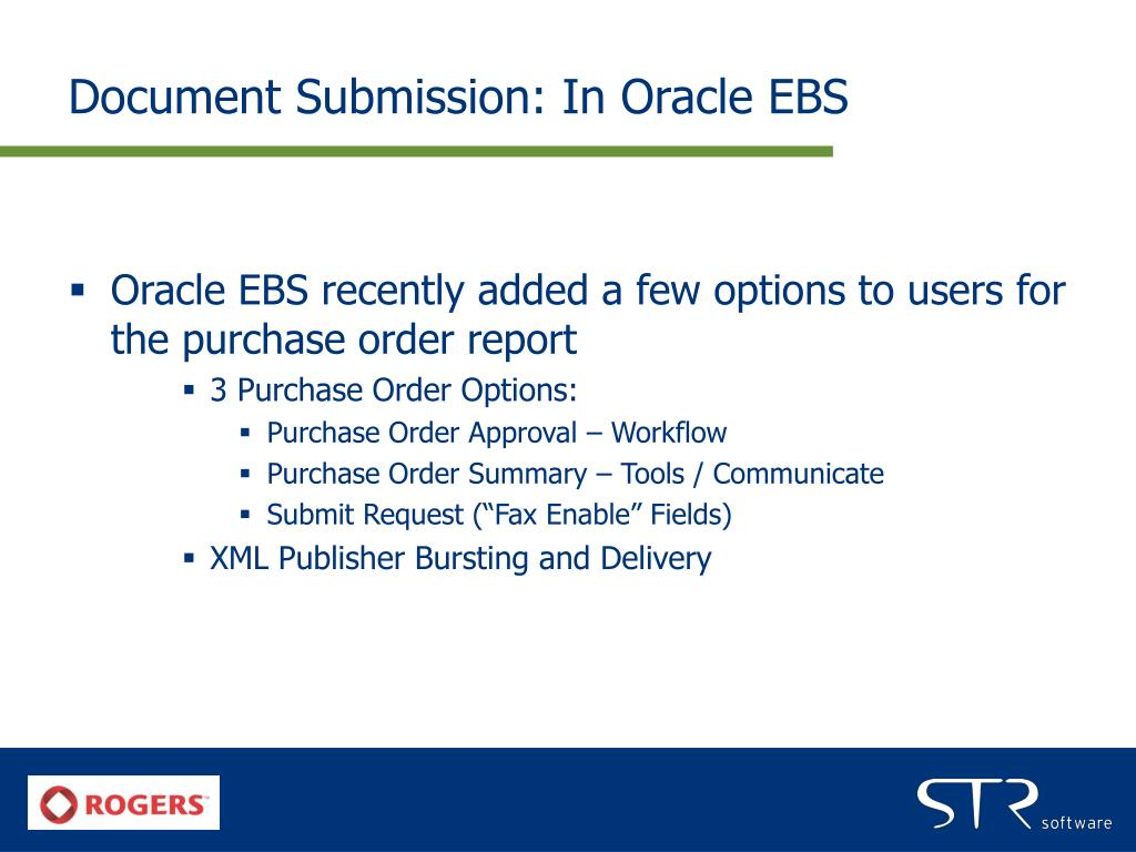 Document Submission: In Oracle EBS