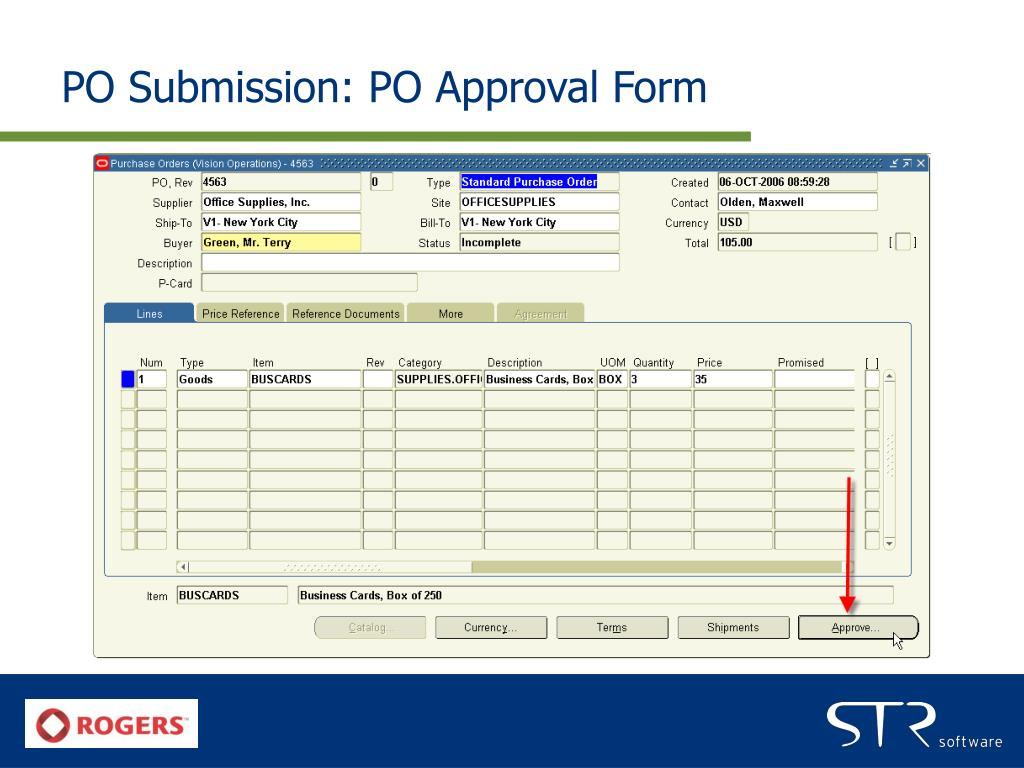 PO Submission: PO Approval Form