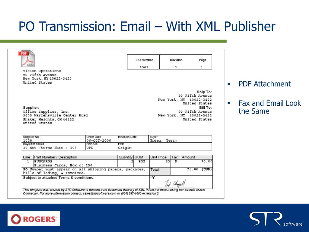 PO Transmission: Email – With XML Publisher