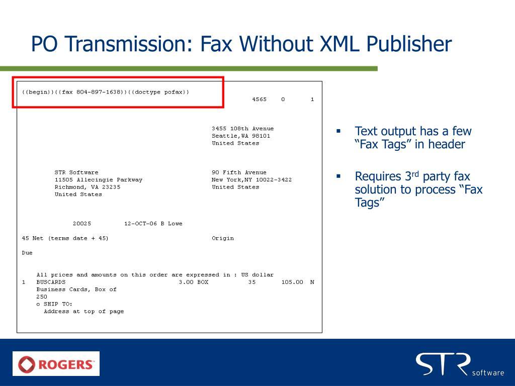 PO Transmission: Fax Without XML Publisher