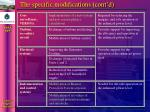 the specific modifications cont d