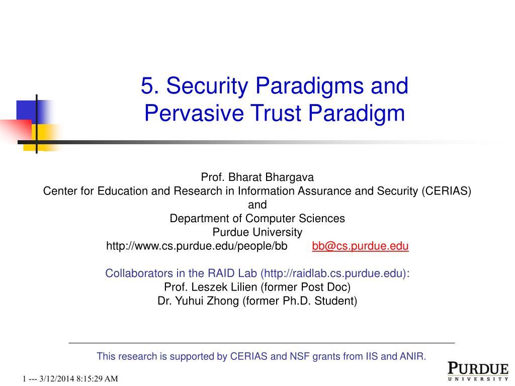 5 security paradigms and pervasive trust paradigm l.