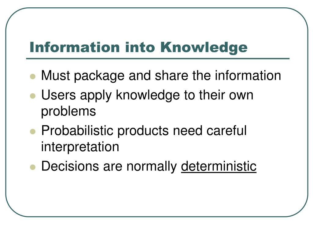Information into Knowledge