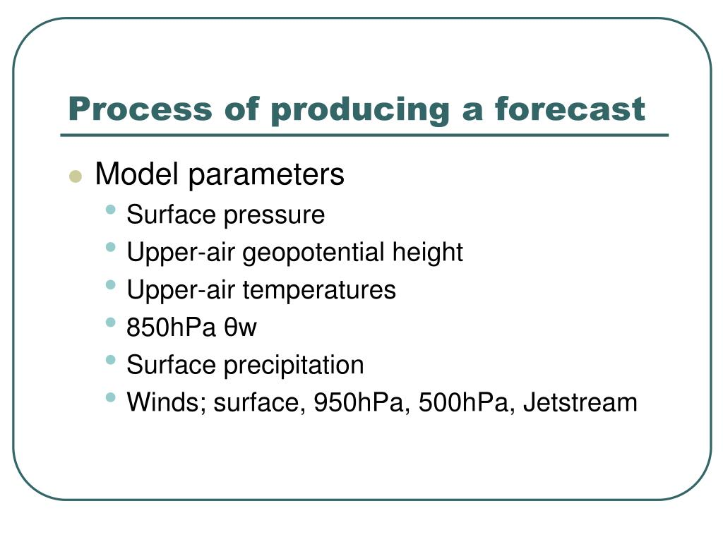 Process of producing a forecast
