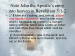 note john the apostle s entry into heaven in revelation 3 1 2