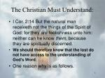 the christian must understand