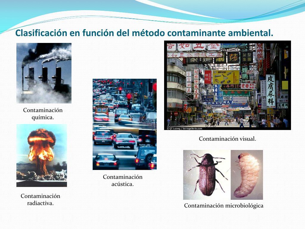 Clasificación en función del método contaminante ambiental.