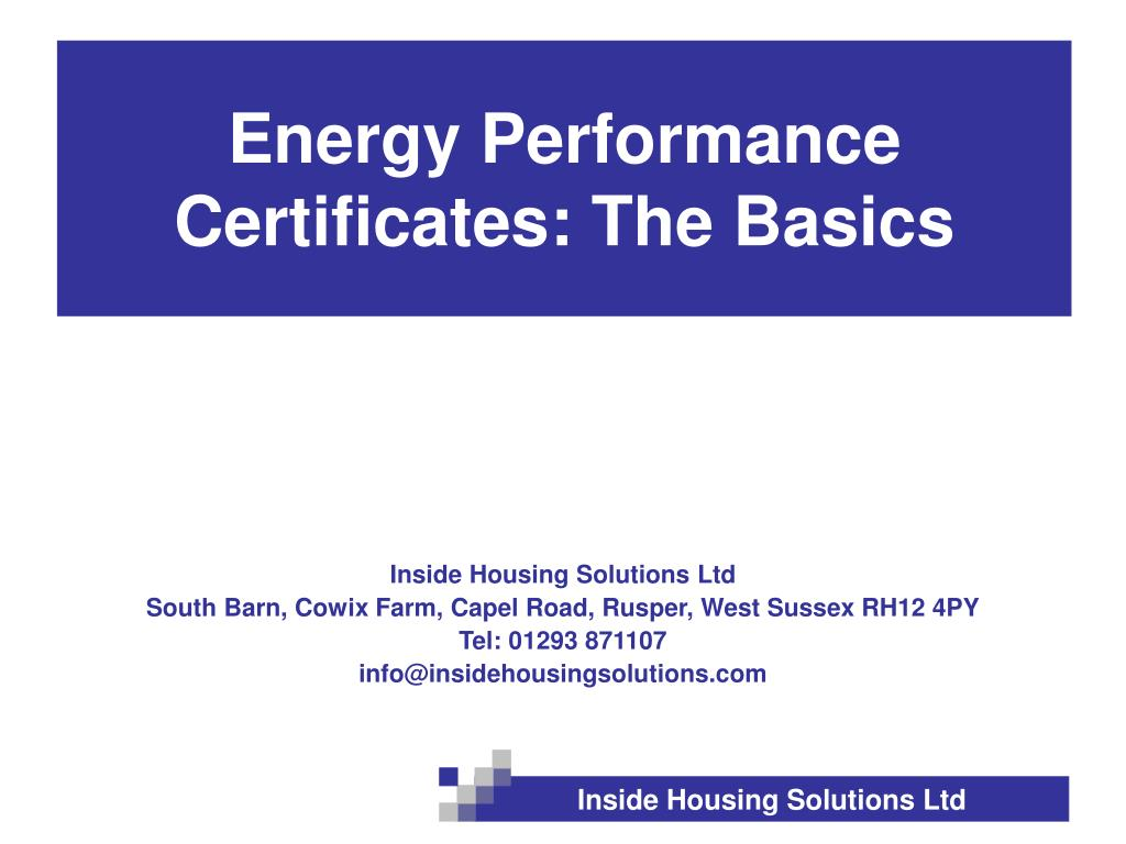 energy performance certificates the basics l.