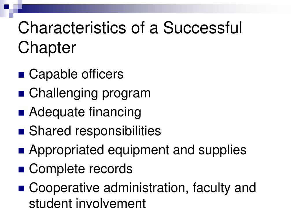 Characteristics of a Successful Chapter