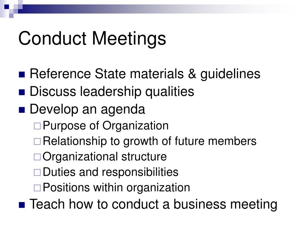 Conduct Meetings