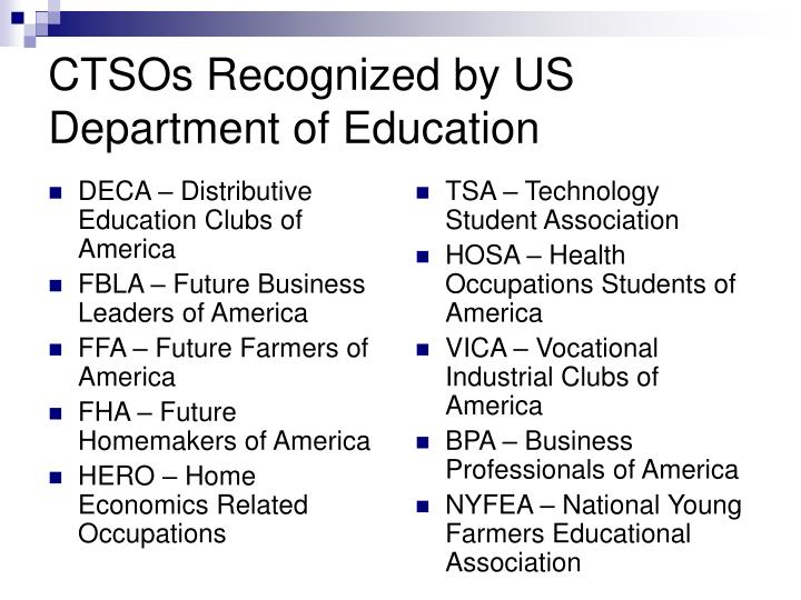 Ctsos recognized by us department of education