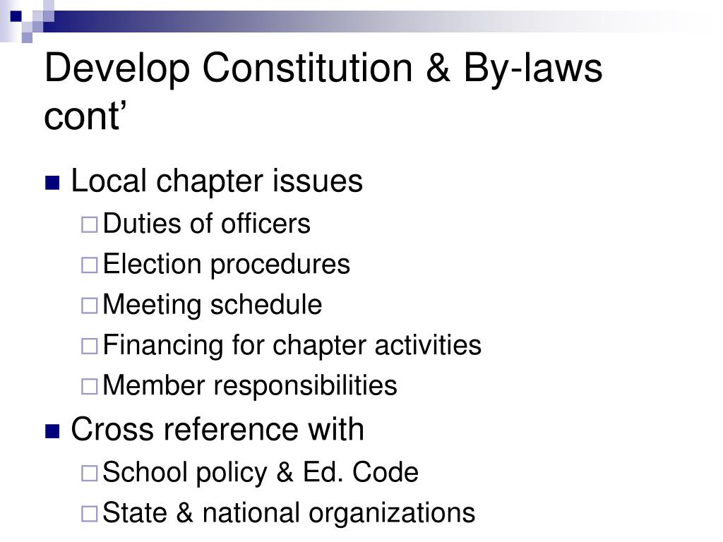 Develop Constitution & By-laws