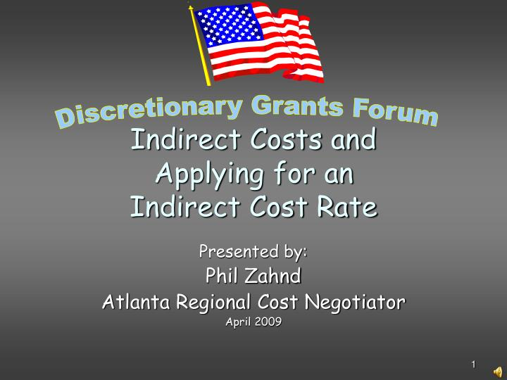 indirect costs and applying for an indirect cost rate n.