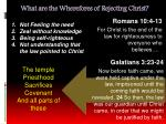 what are the wherefores of rejecting christ13