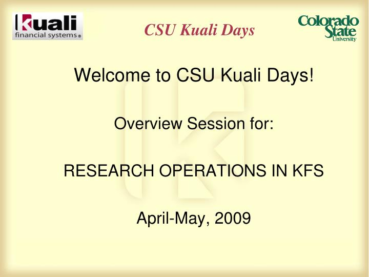 csu kuali days n.