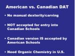 american vs canadian dat