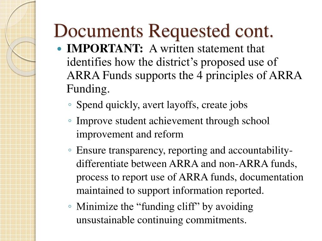 Documents Requested cont.