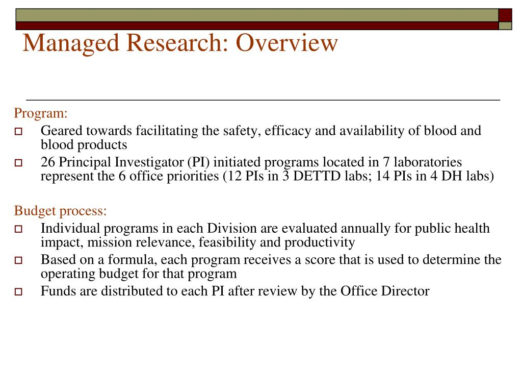 Managed Research: Overview