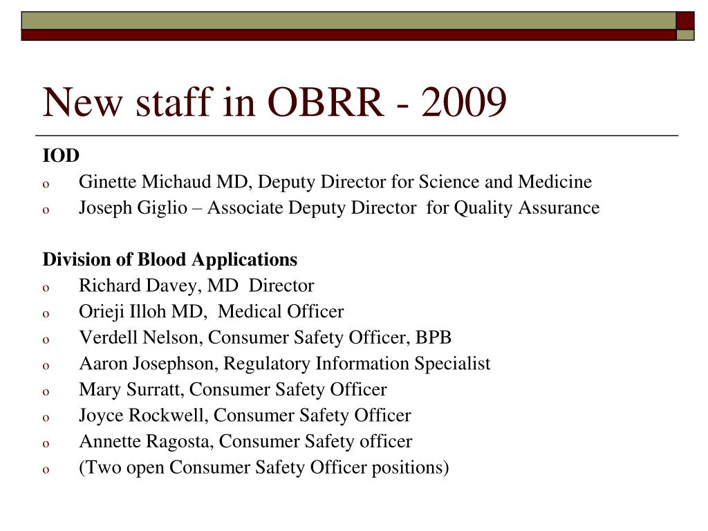 New staff in OBRR - 2009