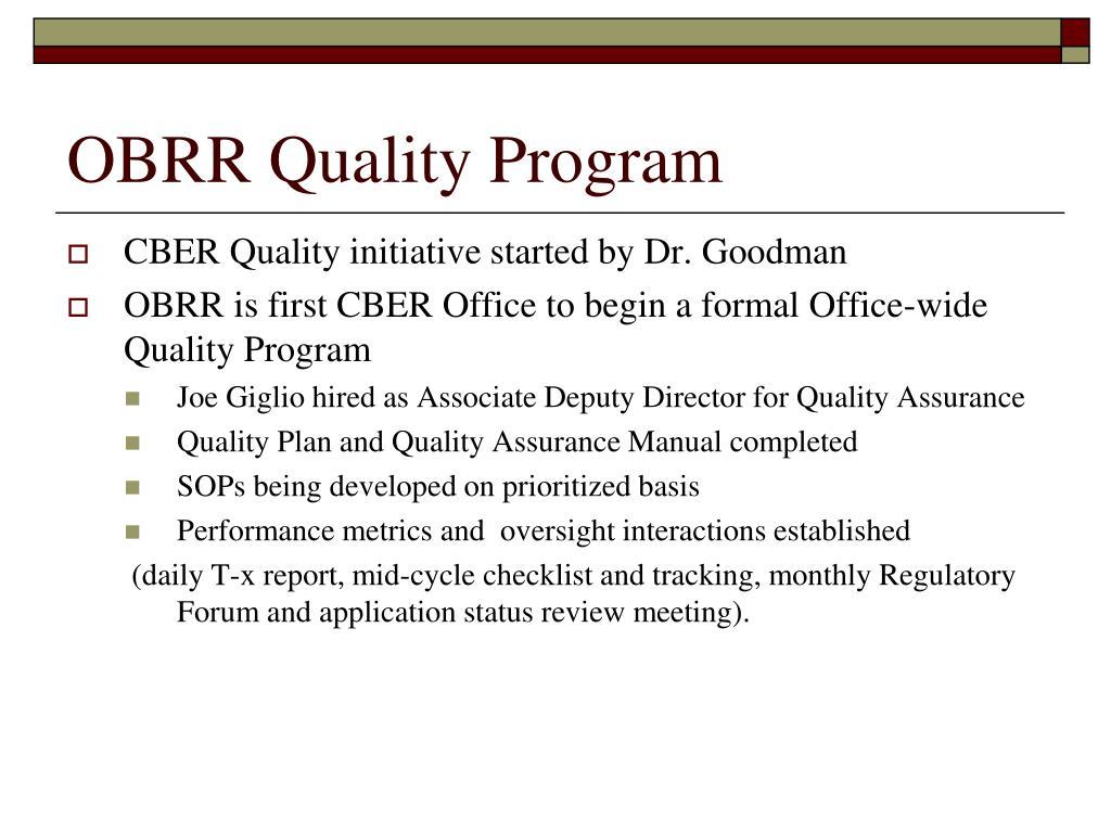 OBRR Quality Program