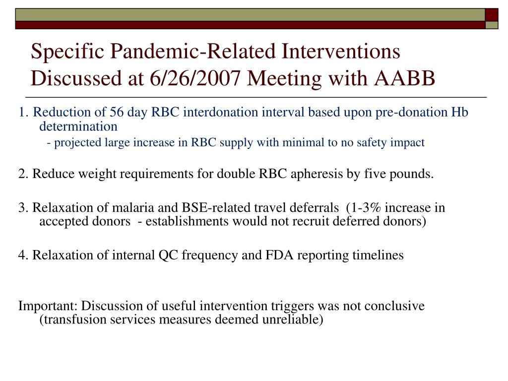 Specific Pandemic-Related Interventions Discussed at 6/26/2007 Meeting with AABB