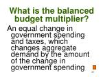 what is the balanced budget multiplier