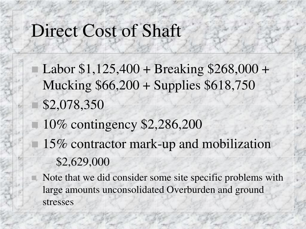 Direct Cost of Shaft