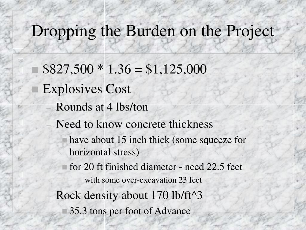 Dropping the Burden on the Project