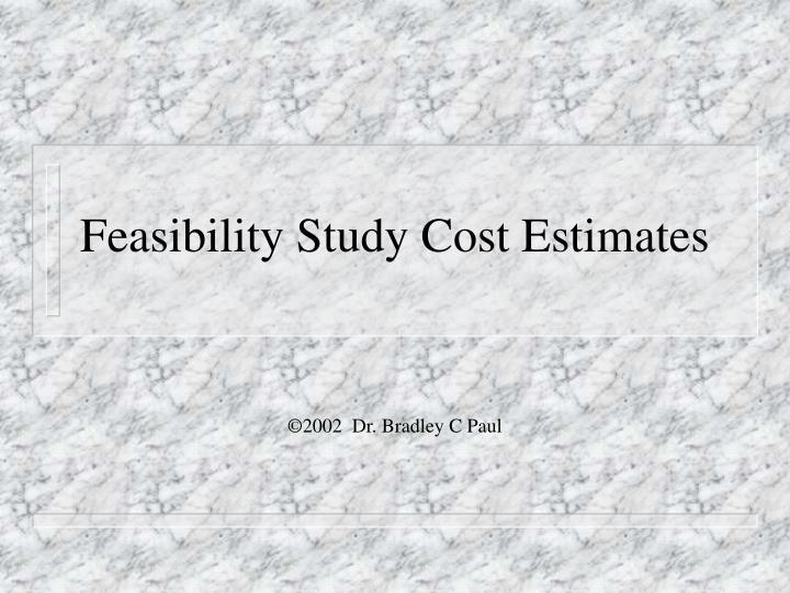 Feasibility study cost estimates