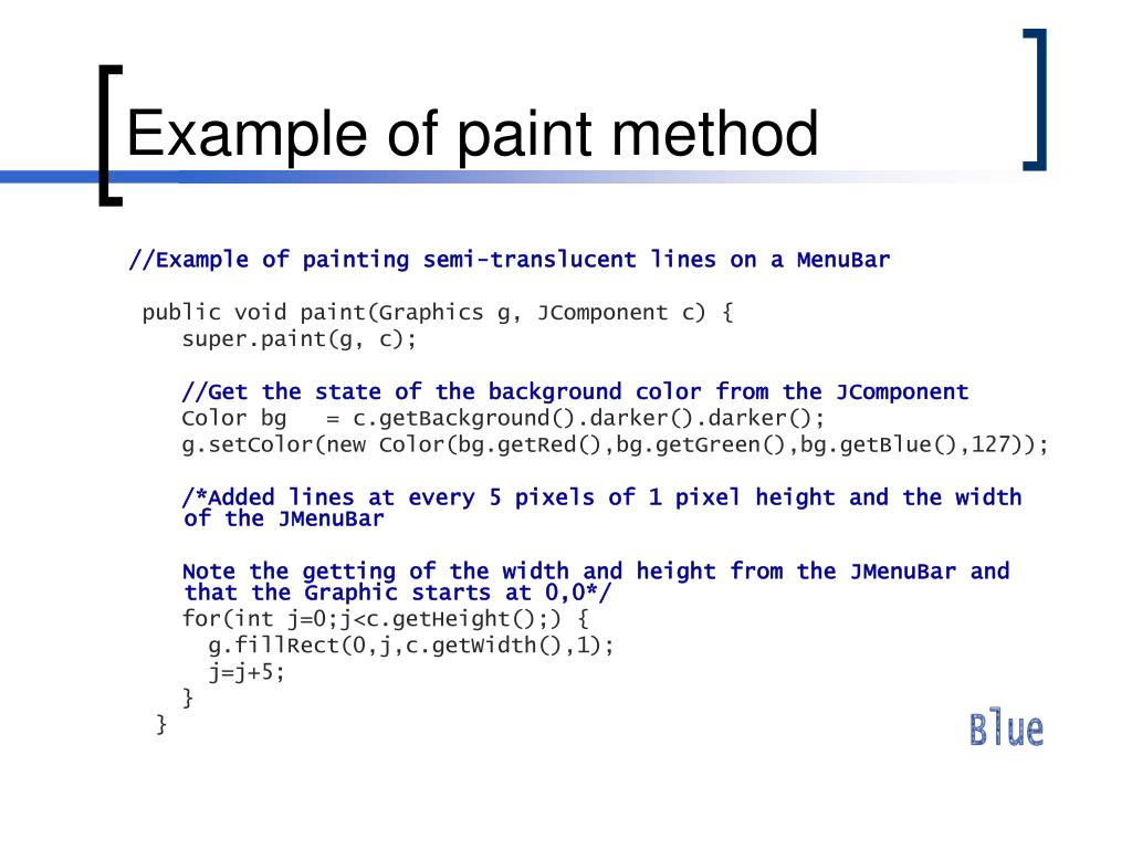 Example of paint method