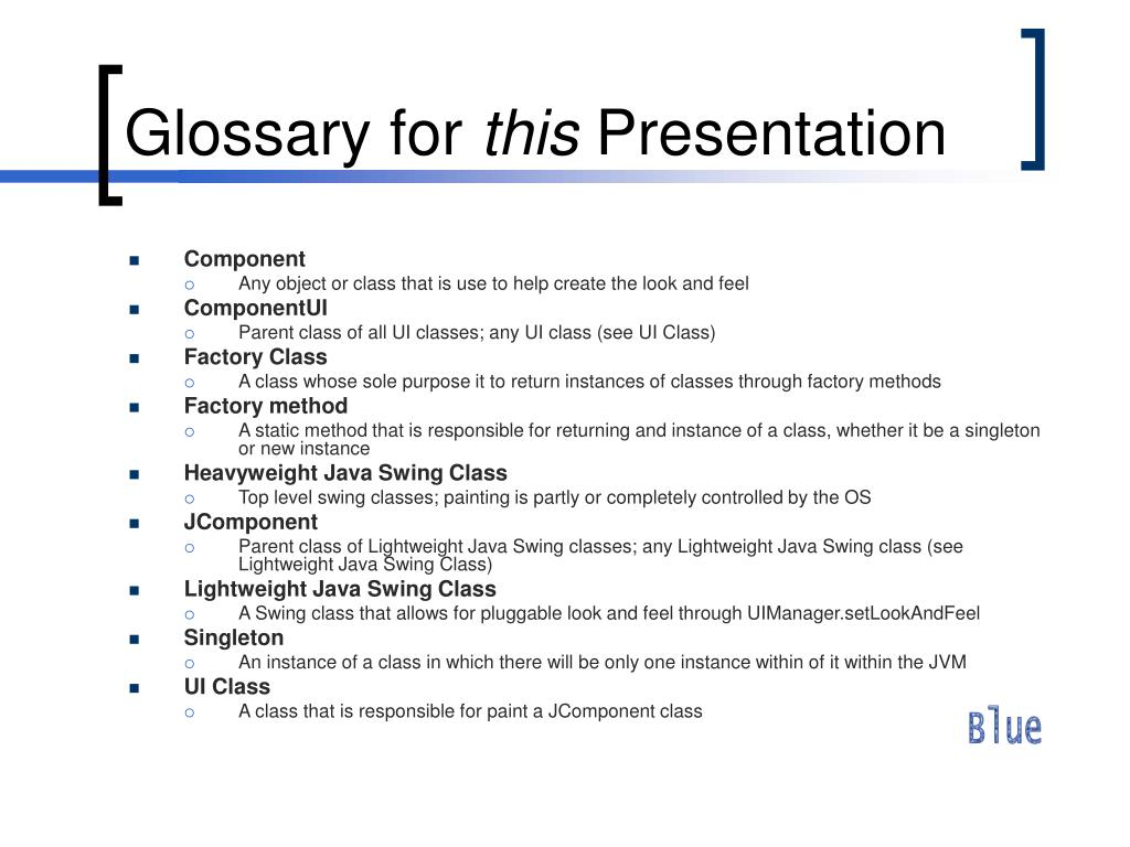 Glossary for