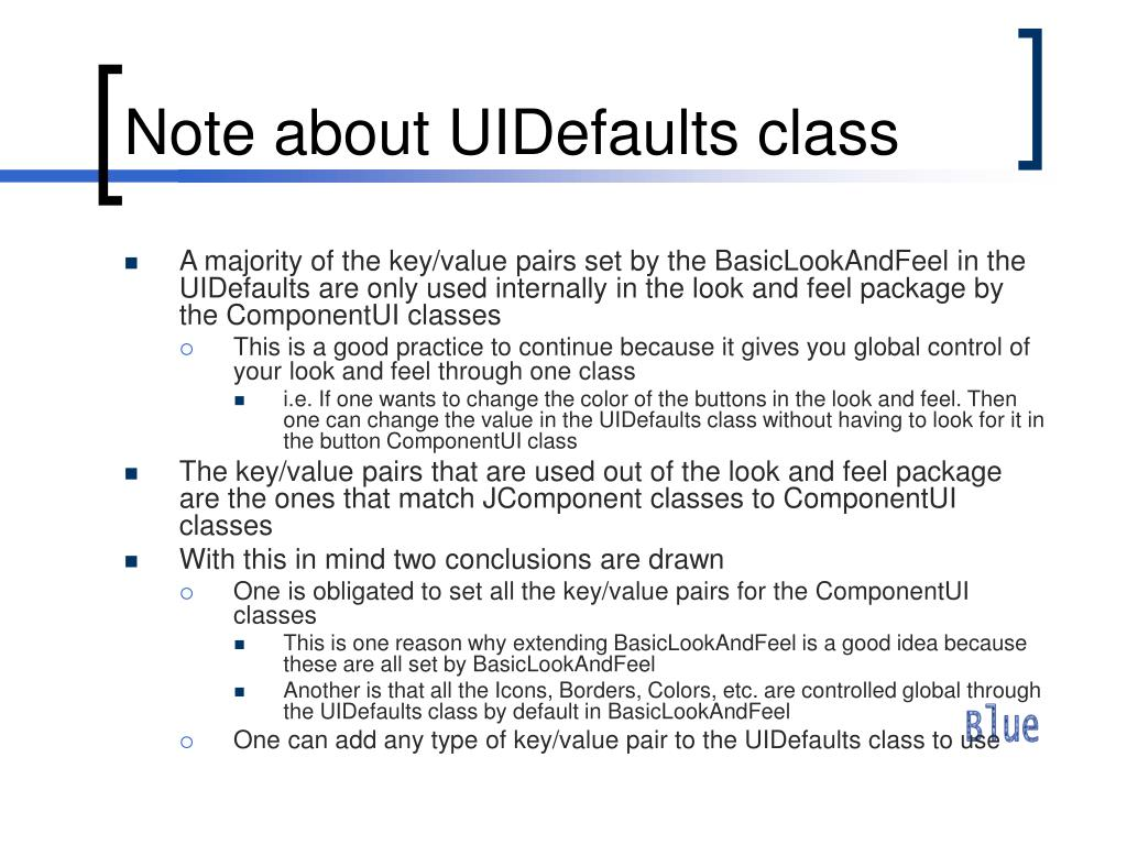 Note about UIDefaults class
