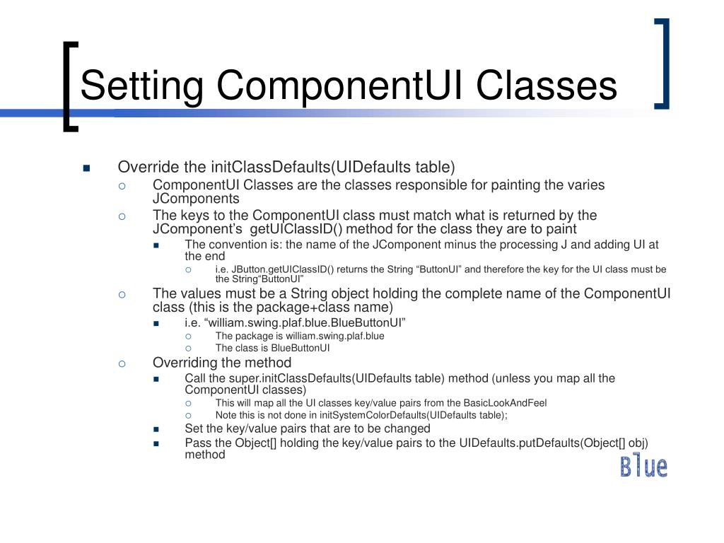 Setting ComponentUI Classes