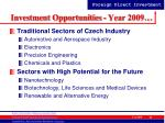 investment opportunities year 2009