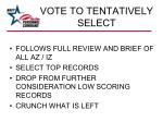 vote to tentatively select