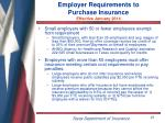 employer requirements to purchase insurance effective january 2014