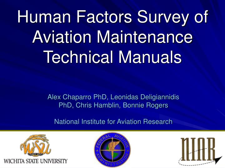 human factors survey of aviation maintenance technical manuals n.