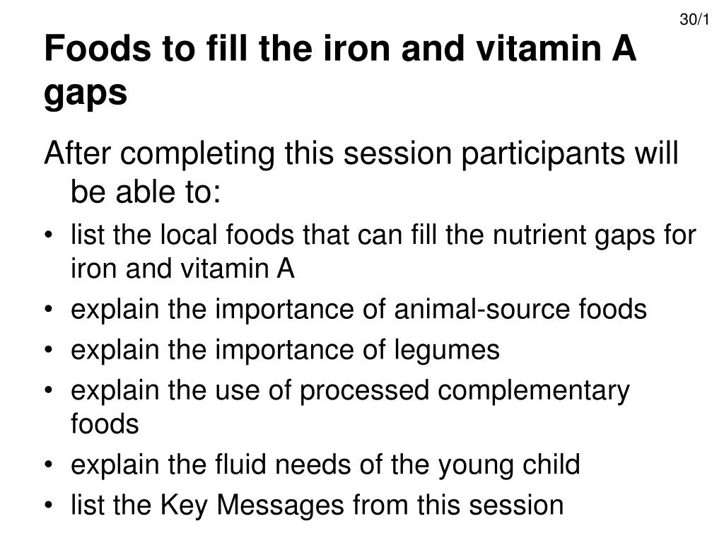 foods to fill the iron and vitamin a gaps l.