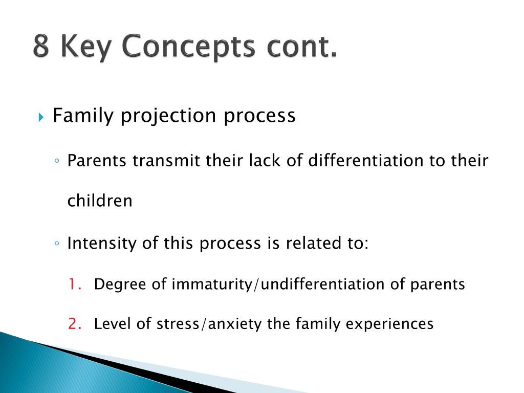 family projection process The family projection process, or the transmission of a parent's anxiety, relationship difficulties, and emotional concerns to the child within the emotional triangle, may contribute to the.