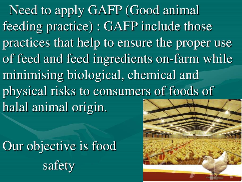 Need to apply GAFP (Good animal feeding practice) : GAFP include those practices that help to ensure the proper use of feed and feed ingredients on-farm while