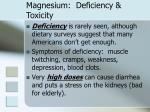 magnesium deficiency toxicity