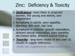 zinc deficiency toxicity