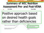 summary of wic nutrition assessment pre and post vena