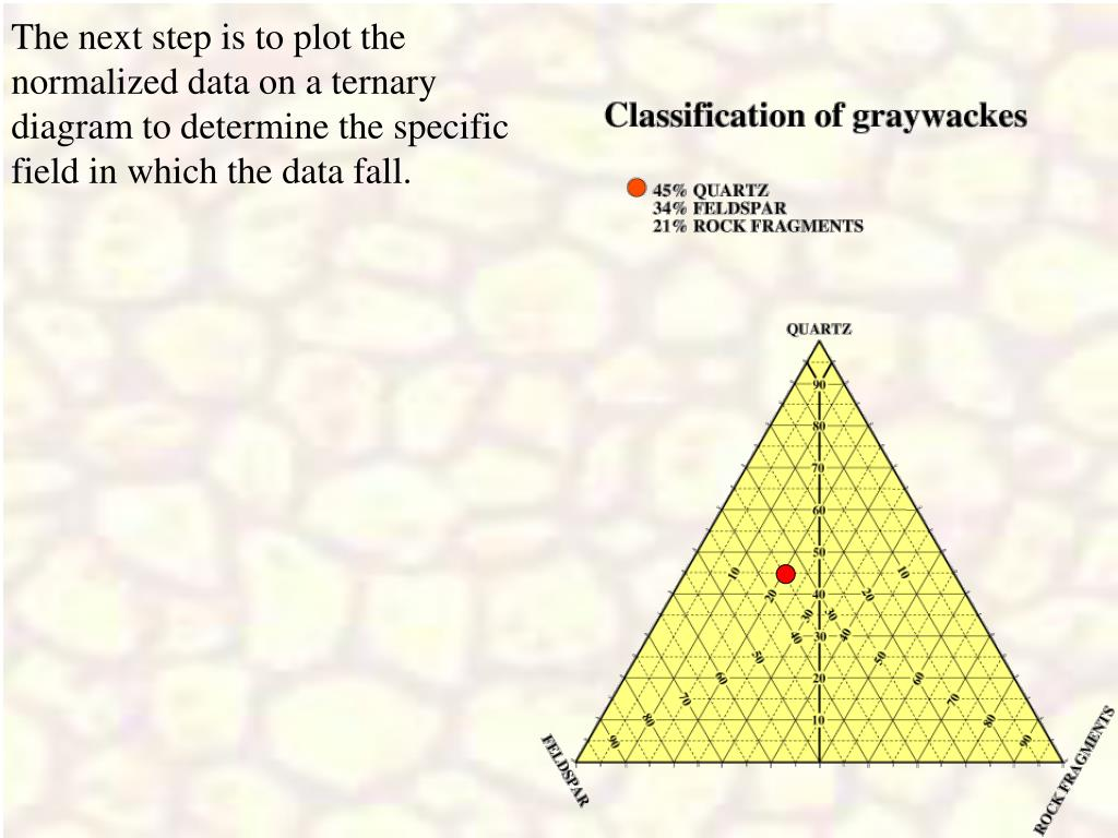 The next step is to plot the normalized data on a ternary diagram to determine the specific field in which the data fall.