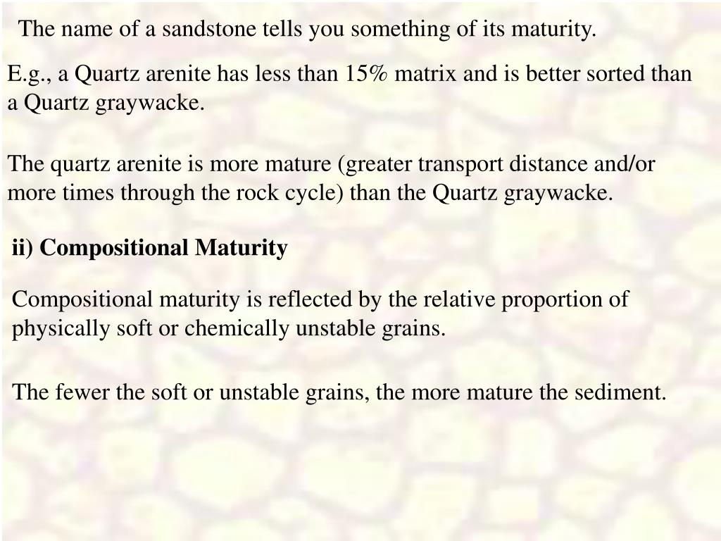 The name of a sandstone tells you something of its maturity.