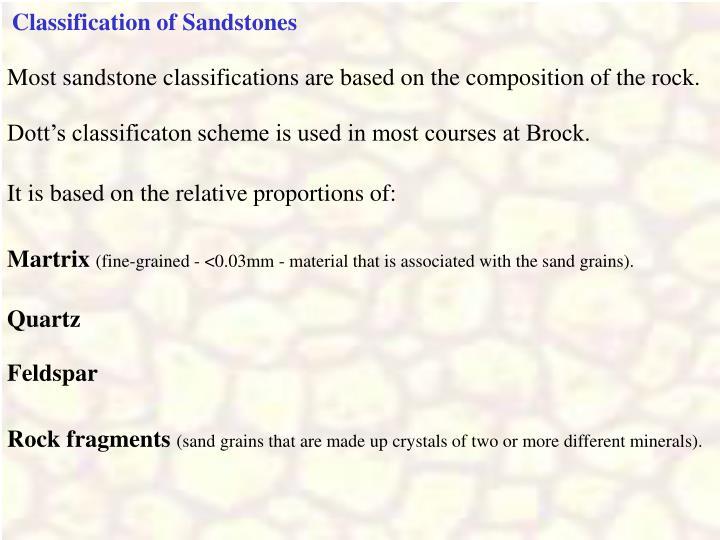 Classification of Sandstones