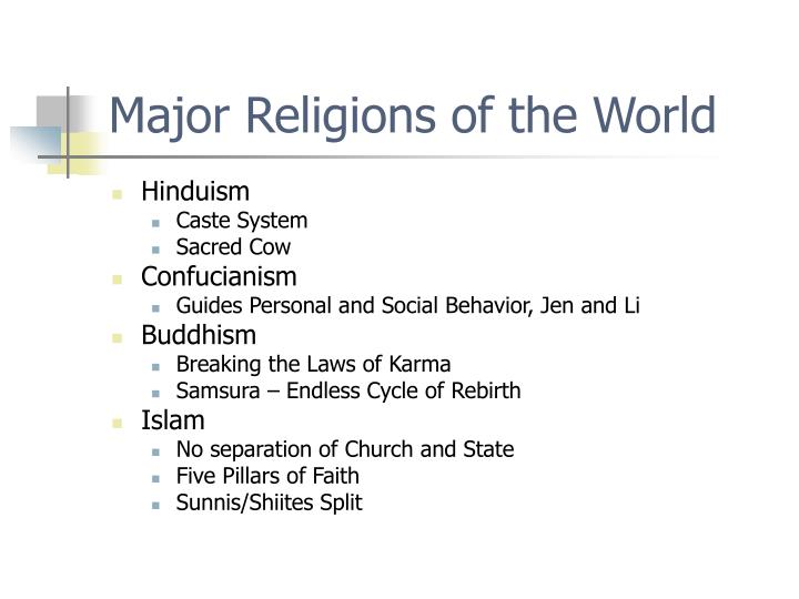 five major religions of the world History timeline of world religions, cults and occcult and its founders the true religion (way to god was given to adam and eve after they fell into sin)it was passed onto to his sons ge,4 it was then passed on until mankind rebelled and no longer practiced it.