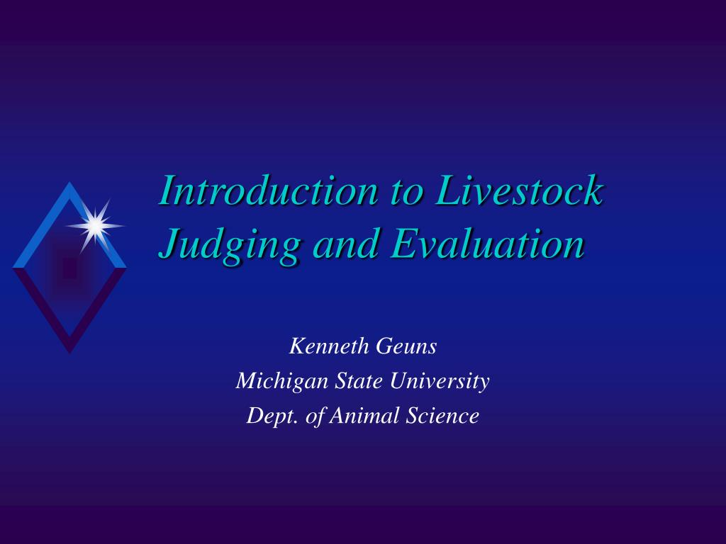 introduction to livestock judging and evaluation l.