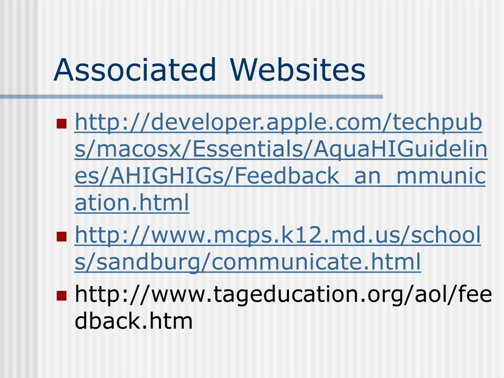 Associated Websites